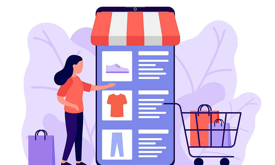Retail, Shop To Online. Smartphone App For Shopping Goods. Woman