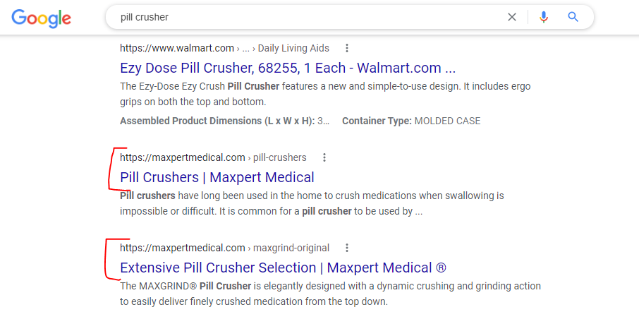 Example of Keyword Cannibalization